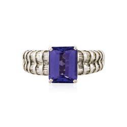 14KT White Gold 2.57 ctw Tanzanite and Diamond Ring