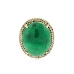 14KT Yellow Gold 21.15 ctw Emerald and Diamond Ring