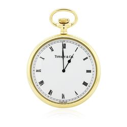 Tiffany & Co. 18KT Yellow Gold Open Face Pocket Watch With Chain