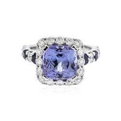 14KT White Gold 3.49 ctw Tanzanite, Sapphire and Diamond Ring
