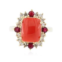 14KT Yellow Gold 3.15 ctw Coral, Ruby and Diamond Ring
