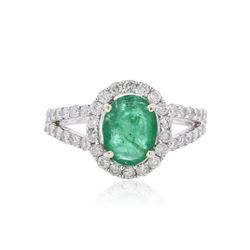 14KT White Gold 1.52 ctw Emerald and Diamond Ring
