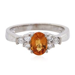 14KT White Gold 1.09 ctw Spessartite and Diamond Ring