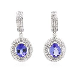 14KT White Gold 5.52 ctw Tanzanite and Diamond Earrings