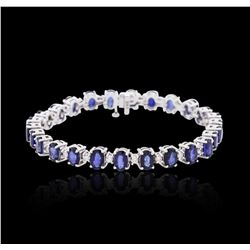 14KT White Gold 13.52 ctw Sapphire and Diamond Bracelet