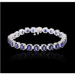 14KT White Gold 13.52 ctw Sapphire and Diamond Bracelet