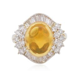14KT Yellow Gold 4.43 ctw Opal and Diamond Ring