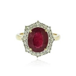 14KT Yellow Gold 4.88 ctw Ruby and Diamond Ring