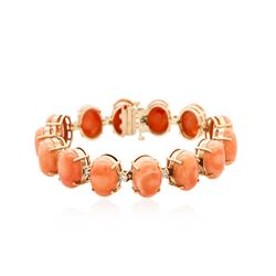 14KT Rose Gold 24.36 ctw Coral and Diamond Bracelet