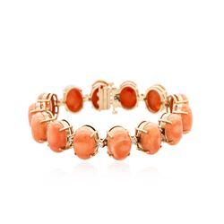 14KT Rose Gold 24.36 ctw Coral and Diamond Bracelet