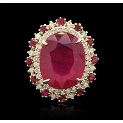 14KT Yellow Gold 11.83 ctw Ruby and Diamond Ring