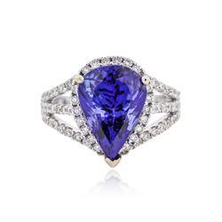 18KT White Gold 6.13 ctw Tanzanite and Diamond Ring