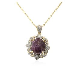 PLATED SILVER 24.03 ctw Ruby and White Sapphire Pendant With Chain