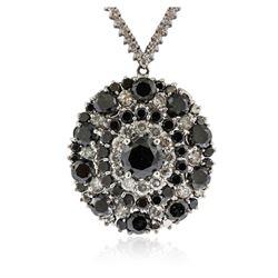 14KT White Gold 18.16 ctw Black Diamond Necklace