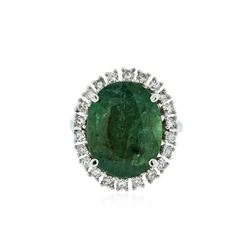 14KT White Gold 10.06 ctw Emerald and Diamond Ring
