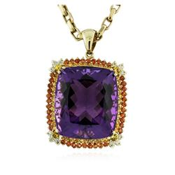 14KT Yellow Gold 77.43 ctw Amethyst & Diamond Pendant with Chain