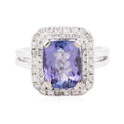 14KT White Gold 3.57 ctw Tanzanite and Diamond Ring