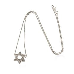 14KT White Gold 0.60 ctw Diamond Star Pendant With Chain