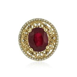 14KT Yellow Gold 7.01 ctw Ruby and Diamond Ring