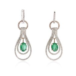 14KT Two-Tone Gold 2.14 ctw Emerald and Diamond Earrings