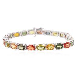 14KT White Gold 18.86 ctw Multicolor Sapphire Bracelet