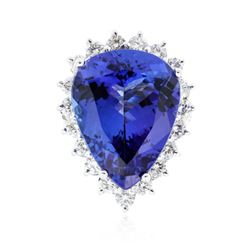 14KT White Gold 16.2 ctw GIA Certified Tanzanite and Diamond Ring