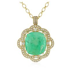 14KT Yellow Gold GIA Cert 52.12 ctw Emerald and Diamond Pendant With Chain