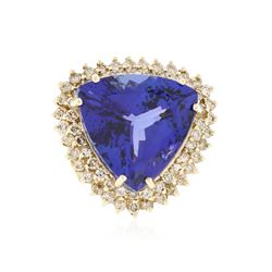 14KT Yellow Gold 29.67 ctw GIA Cert Tanzanite and Diamond Ring
