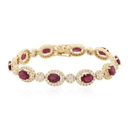14KT Yellow Gold 8.90 ctw Ruby and Diamond Bracelet
