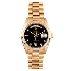 Gents Rolex 18KT Yellow Gold Diamond Presidential Day Date Wristwatch