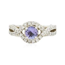 14KT White Gold 0.90 ctw Tanzanite and Diamond Ring