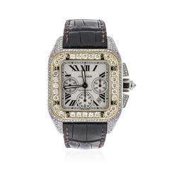 Cartier Two-Tone 6.50 ctw Diamond Santos 100 Wristwatch
