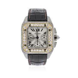 Cartier Two-Tone 6.50 ctw Diamond Santos 100 Wristwatch