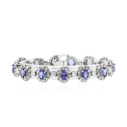 14KT White Gold 10.66 ctw Tanzanite and Diamond Bracelet