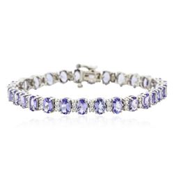 14KT White Gold 11.89 ctw Tanzanite and Diamond Bracelet