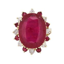 14KT Yellow Gold 20.62 ctw Ruby and Diamond Ring