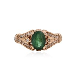14KT Rose Gold 1.22 ctw Emerald and Diamond Ring