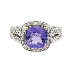 18KT White Gold 2.81 ctw Tanzanite and Diamond Ring