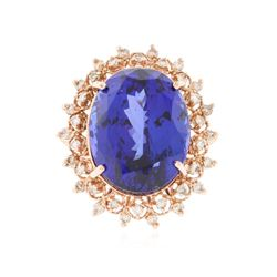 14KT Rose Gold 22.20 ctw GIA Cert Tanzanite and Diamond Ring