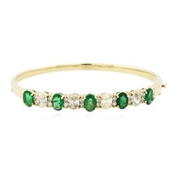 14KT Yellow Gold 3.25 ctw Emerald and Diamond Bracelet
