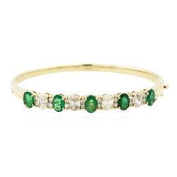 14KT Yellow Gold 3.25 ctw Emerald and Diamond Bracelet