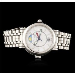 Gerald Genta Stainless Steel Night and Day Wristwatch
