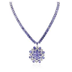 14KT White Gold 83.22 ctw Tanzanite and Diamond Necklace