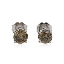 14KT White Gold 1.15 ctw Fancy Brown Diamond Stud Earrings