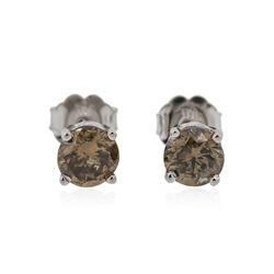 14KT White Gold 1.15 ctw Fancy Brown Diamond Stud Earrings