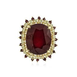 14KT Yellow Gold 32.79 ctw Ruby and Diamond Ring
