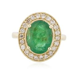 14KT Yellow Gold 3.09 ctw Emerald and Diamond Ring
