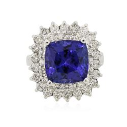 14KT White Gold GIA Certified 8.39 ctw Tanzanite and Diamond Ring