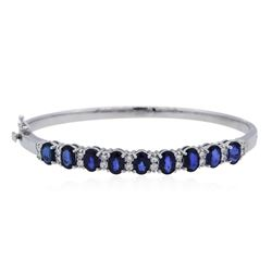 14KT White Gold 4.68 ctw Sapphire and Diamond Bangle Bracelet