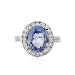 14KT White Gold 4.79 ctw Tanzanite and Diamond Ring